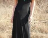 Bold Long Black Big Collar Sheath Gown