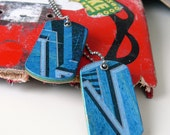 Recycled Skateboard Double Wood Dog Tags Blue and Black Stripes