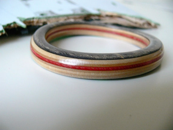 Wood Bangle Bracelet made from Recycled Skateboard in Black and Red