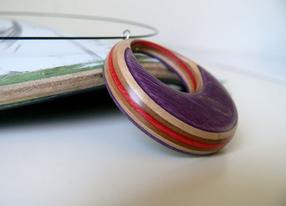 Reversable skateboard Pendant: Purple and Red with graphic on a Black Wire Necklace
