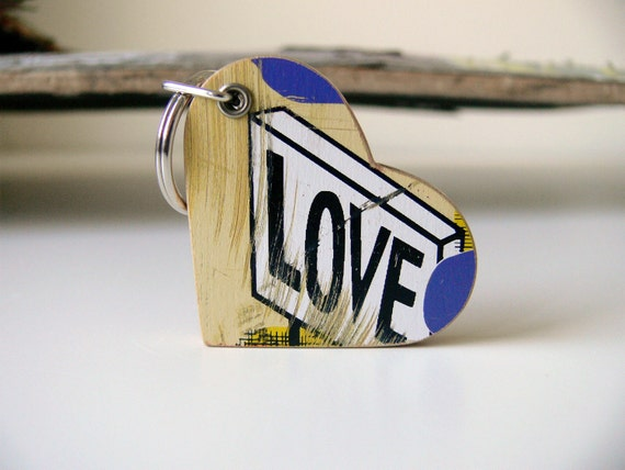 Recycled Skateboard Wooden Heart Keychain with LOVE