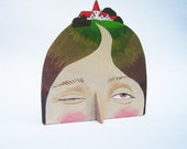 Hand painted plywood sculpture - Lady with Village on her Head IV