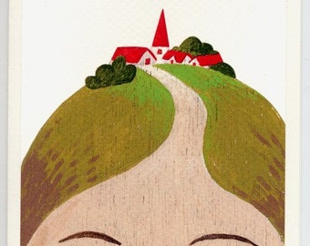 Greeting card - Lady with Village on her Head