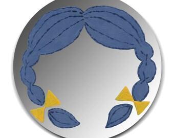Hand painted mirror - Blue Braids