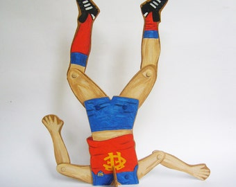 OOAK Wooden Australian Rules Football Player - Fitzroy