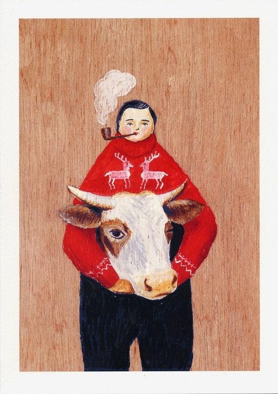 Fine art print -- Man and Cow