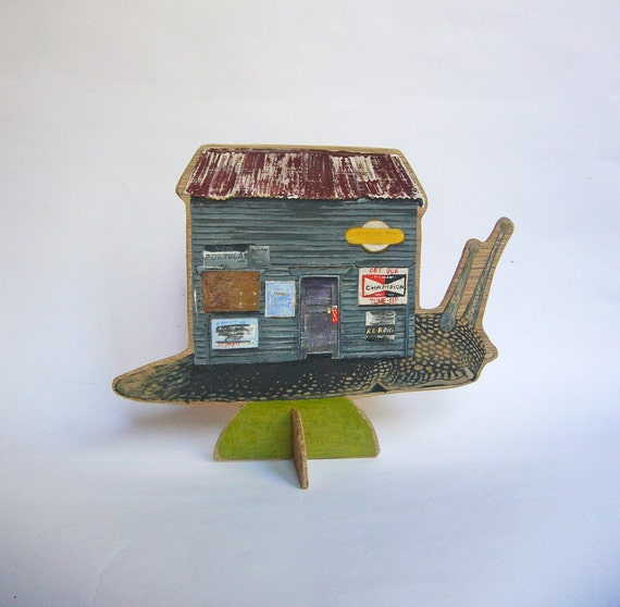 OOAK Hand painted wooden sculpture -- Snail carrying mechanic's shack