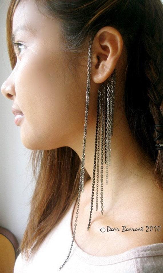 Shades of Grey - Gunmetal Ear Cuff Wrap with Multi Length Draping Chains by Dear Bearcat