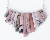 Pink and Gray Rhodonite Stone Xanadu Necklace Triangular Natural Gem Stone Necklace Arrow Shape Long Silver Chain by Michelle Rose