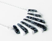 Black & White Stone Necklace - Snowflake Obsidian and White Howlite Xanadu Necklace - Long Silver Plated Chain - Piano Necklace