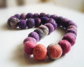 felt necklace purple and pink balls, eco friendly, statement necklace, strand necklace