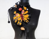 felt necklace, fiber butterfly lariat, statement necklace, eco friendly
