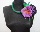 felt necklace, spring flowers lariat, eco friendly necklace, statement necklace