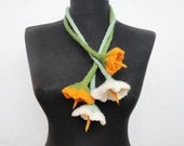 felted flowers cluster, summer necklace, eco friendly,statement necklace scarf lariat