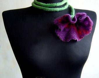 SALE felt fiber flower lilac necklace lariat, statement necklace, eco friendly