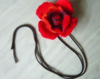 felt flower in red, statement necklace, eco friendly