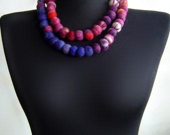 felt necklace balls fiber artistic rainbow necklace, statement necklace, eco friendly, strand necklace