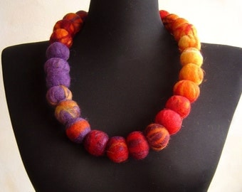 felt balls necklace, fiber rainbow necklace, statement necklace, eco friendly
