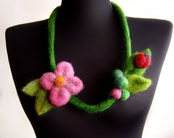 felt garden necklace, statement necklace, eco friendly necklace