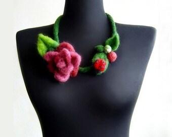 felt flower and lady-bird necklace, bib necklace, eco friendly, statement necklace