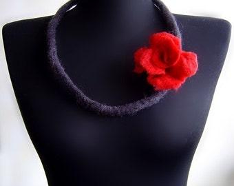 felt rose necklace, eco friendly, statement necklace, bib necklace
