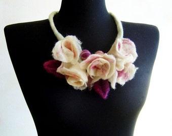 statement necklace, felt white roses fiber romantic necklace, bib necklace, eco friendly