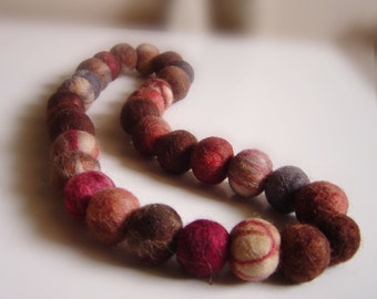 felt necklace chocolate balls, eco friendly, statement necklace, balls necklace, strand necklace