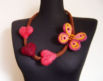 felted hearts and a butterfly summer necklace, statement necklace, eco friendly