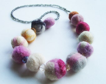 felted balls necklace, elt crystals and beads necklace, eco friendly, strand necklace