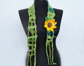 felt necklace, felt sunflower belt, eco friendly, statement necklace scarf