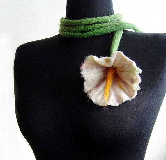 sale felt flower fiber white necklace lariat