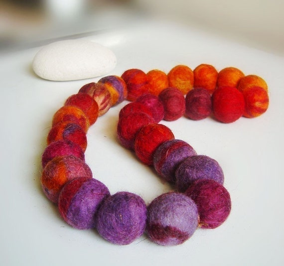 felt necklace balls, eco friendly, statement necklace, strand necklace