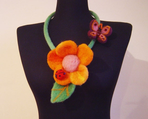 felt orange flower necklace, statement necklace, eco friendly, bib necklace