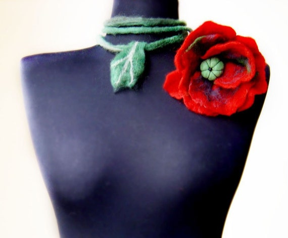 felt poppy necklace, fiber red necklace lariat, statement necklace, lariat, eco friendly