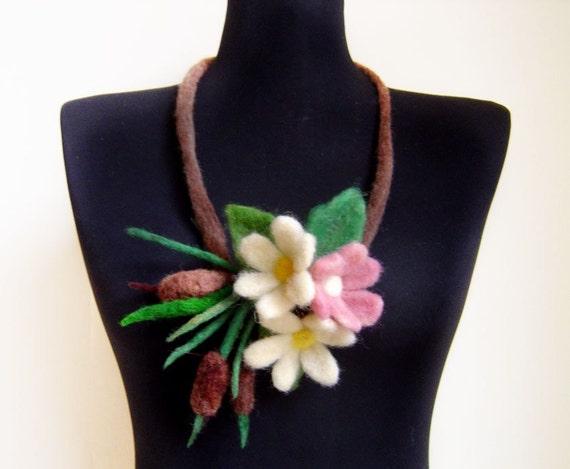 Eco friendly felt water flowers fiber art spring necklace, bib necklace, statement necklace