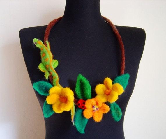 felt lizard and flowers fiber art necklace, statement necklace, eco friendly
