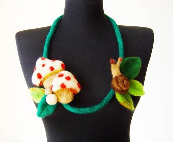 SALE felt mushrooms and a snail fiber artistic statement necklace