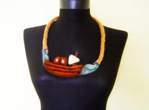 sail away felt fiber sea necklace, statement necklace, bib necklace, eco friendly