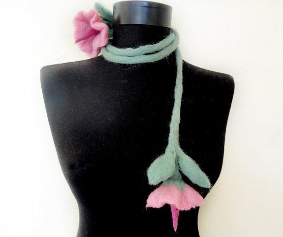 felt fiber pink flowers and leaves romantic statement necklace lariat