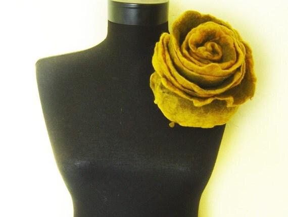 felt huge rose brooch