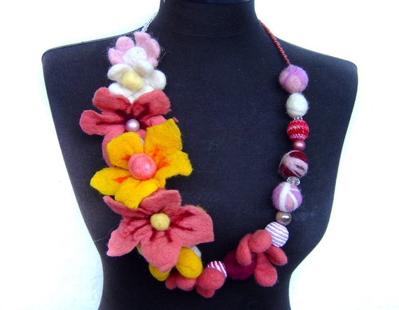 summer felt necklace balls,  beads and flowers