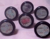 "Set of 6 Knobs Vintage Sheet Music Roses Pulls Black Wood 1-1/4"""