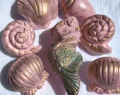 Custom Mermaid Distressed Seashells Sea Shell Pulls Knobs Patina Gilded Pink Conch Retro Nautical Beach