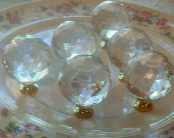 FREE SHIPPING 6 Crystal Ball Knobs Pulls 1.5 inch Drawer Pulls