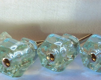 SET of 5 Glass Knobs Coke Bottle Green Drawer Pulls Trim Project Toppers