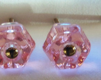 12 Pack SALE Pink Clear Glass Knob Drawer Pulls Trim Project Topper 1.25 Inch