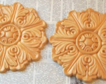 2 PC Onlays Appliques Round Leafy Medallion Birch Flower Wood  Trims 5 Inches
