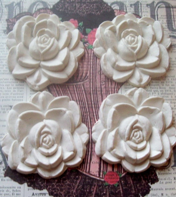 Big White Roses Furniture Appliques Embellishments Cabochons Polymer Clay Paintable 60mm