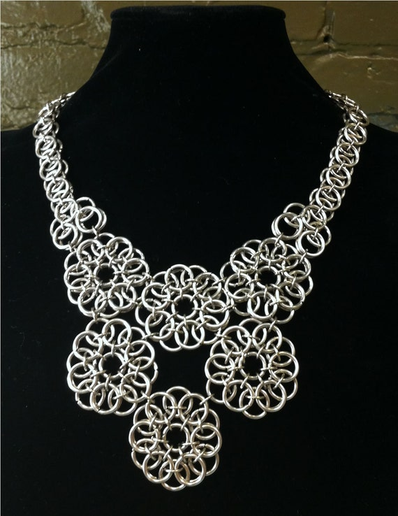 Peony - Chainmaille Bib Necklace