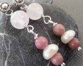 Dusty Rose Sterling Silver Earrings - Treasury Featured Item